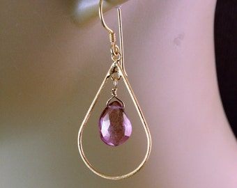 The Mabel Gold Plated Hoop and Ballet Pink Quartz Briolette Earrings