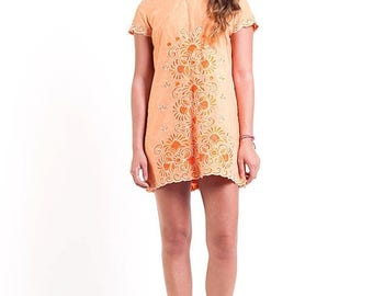 35% OFF SPRING SALE The Vintage Embroidered Tangerine Shift Dress