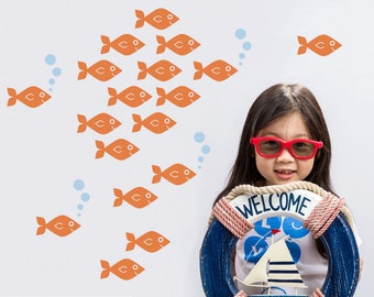 Baby Fish Wall Decals, Ocean Nursery Theme Kids Sea Life Underwater Under the Sea Cute Aquarium Nautical Room Decor: SWIM RIGHT