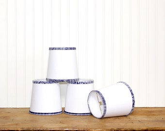 White Linen Sconce Shade - Bohemian Decor - Chandelier Shade - Vintage Tribal Hmong - Lampshade - Cottage Chic - Blue and White - Clip On