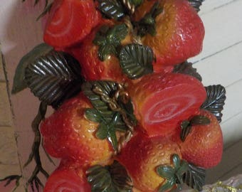 Strawberry Wall Plaque - Sculpted - Wall Plaque - Strawberries - Cluster - Wall Hanging - Country Cottage