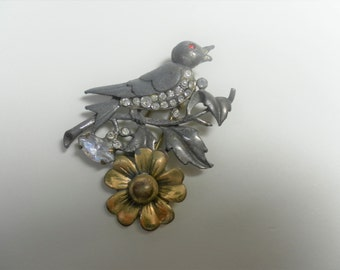 Vintage Bird and Flower Rhinestone and Mixed Metal Brooche