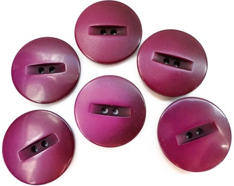 Magenta Vintage Buttons - 6 Plastic Sew Through Coat Jacket Blazer 1 inch for Jewelry Beads Sewing Knitting