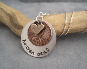 Penny Jewelry - Heaven Cent - Customize - Meaningful Jewelry - Memorial - Mixed Metal - Hand Stamped Necklace