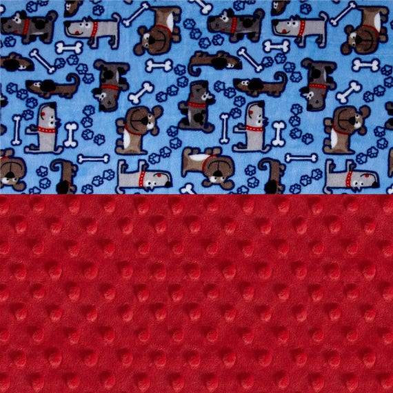 Minky Adult Blanket 60 x 70, Personalized Blanket - Blue Red Dogs Throw // Twin Size // Blue Dog Blanket // Blue Blanket