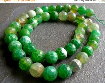 SALE Shaded agate faceted round beads- 8mm- 14 inch