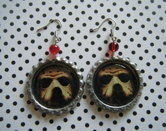 Jason Voorhees mask close up Friday the 13th bottle cap earrings with red glass beads