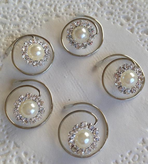 Hair Jewels Rhinestones and Ivory Pearls Bridesmaids Hair Swirls Spins Spirals Prom Coils Wedding Hair