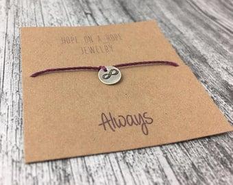Infinity Bracelet - Sterling Silver Infinity Bracelet - Cord Bracelet - Infinity jewelry - Love Bracelet - Bracelet for Girlfriend - Always