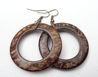 Hoop Earrings, Wood Earrings, Dangle Earrings