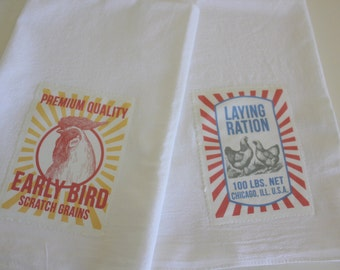 Chicken Flour Sack Towels - Farmhouse Tea Towels