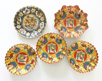 FIVE Vintage Bowls Pressed Cardboard Christmas Holiday Display Piece Candy Container Western Germany