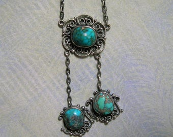 Antique Edwardian Sterling Filigree and Turquoise Necklace, Sterling Negligee Necklace, Sterling Filigree Turquoise Necklace (#3225)