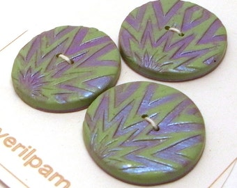 Large Round Buttons Green and Silvery Lilac Handmade Polymer Clay 30mm