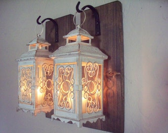 Rustic Turquoise Lantern Pair 2 Wall Decor Bedroom Wall