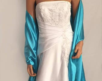 Satin bridal wrap wedding shawl scarf cover up long shrug stole prom evening long wrap SW100 AVL IN aqua blue and 18 other colors