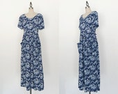 Vintage 1990s All That Jazz Blue Grunge  Floral Short Sleeve Midi Dress - S/M
