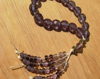 Worry Beads, Faceted Purple-Gold Glass Beads and Gold Plated Beads, Pocket Worry Beads, Beaded Tassel, Stress Relief Beads, Meditation Aid