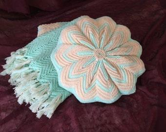 SUPER CLEARANCE! Vintage Hand Crochet Afghan Throw Aqua Ivory Sparkle Chevron Matching Pillow