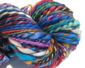 Bulky Yarn Handspun Yarn Waste Not Want Not B 122 yards merino wool handdyed rainbow yarn knitting supplies crochet supplies waldorf doll
