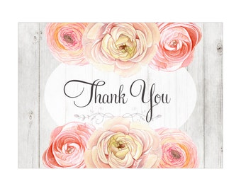 Digital Printable Thank You Note Bridal Shower with Peach Flowers on Wood TYB005