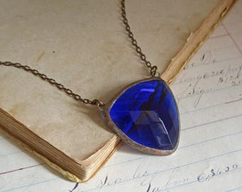 Triangle Faceted Stained Glass Bib Necklace Sapphire Colored Jewelry