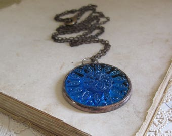 Blue Glass Jewel Pendant Stained Glass Jewelry Long Necklace