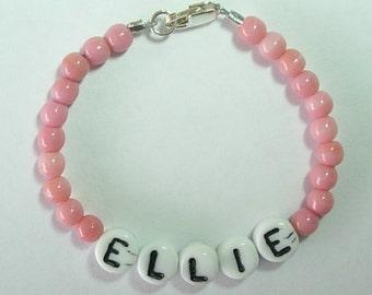 Custom Personalized Baby Name Bracelet Retro Style Hospital Nursery Czech Glass Alphabet & Pressed Glass Pink 4mm Beads Sterling Clasp