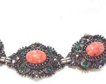 Ornate Vintage Link Bracelet with Speckled Peach Cabochons & Green Rhinestones