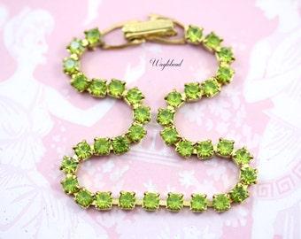Vintage Swarovski Rhinestone Bracelet Raw Brass Lime Green - 1
