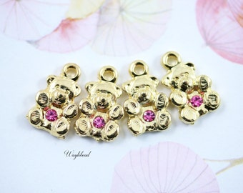 Rose Pink Crystal Swarovski Gold Plated Teddy Bear Charm Pendant - 2pcs