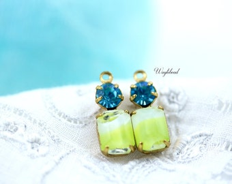 Yellow White Givre & Aqua Swarovski Crystal 16x6mm Vintage Glass Drops Octagon 1 Ring Set Stones Brass Prong Settings - 2 .