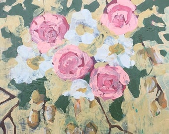 """Original Painting - Floral No. VIII Canary - 8"""" x 10"""" Acrylic Painting on Hardboard"""