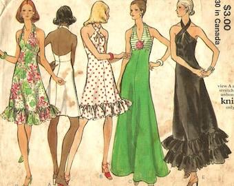 Vintage 1970s Vogue 8323 Misses Halter Evening Dress Sewing Pattern Size 10 Bust 32.5