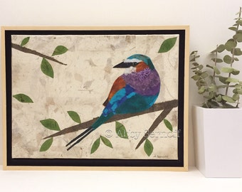 "Framed Original Artwork Bird Art 9"" x 12"" Lilac Breasted Roller"