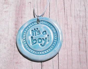 Boy Birth Announcement Necklace. Handmade clay pendant. Polymer clay pendant. Polymer clay necklace.