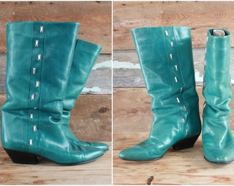 teal leather boots | size 7.5 | blue leather cowboy boots | made in Italy