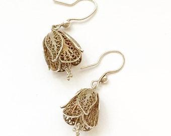 Cannetille Silver Filigree Flower Earrings Drop Dangle Vintage