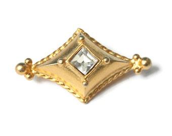 Gerard Yosca  Designer Pin Crystal Center Diamond Shaped Vintage