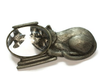 Cat with Fishbowl Brooch Pewter Tone JJ Signed Vintage