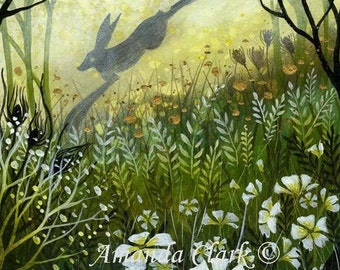 SALE!!  Limited edition giclee art print by Amanda Clark.  'Misty Morning'.  Hare paintings, miniature painting, wildlife art