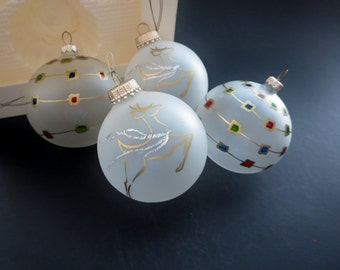 Vintage Christmas Ornaments - Decorated Frosted Glass Balls - Tree Ball Decorations - Four Hand Decorated Glass Balls