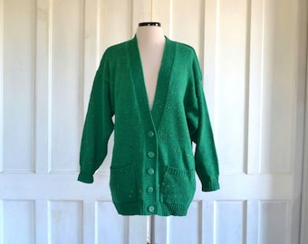 Oversized 80s Cardigan Sweater Green Tweed Flecked Cocoon Sweater