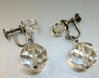 Sterling Faceted Crystal Screw Earrings