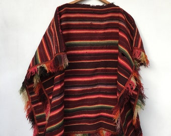 Vintage 1950s Woven Colorful Peruvian Rug Poncho Blanket Distressed Tarabuco Bolivia