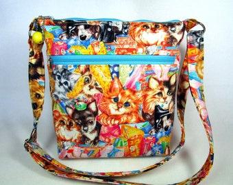Sewing Room Pets Handmade Fabric Cross Body Purse / Cell Phone Pocket