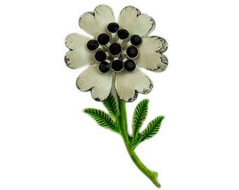 1960s White & Green Enameled withJet Black Rhinestones Rhinestone Vintage Flower Floral Pin