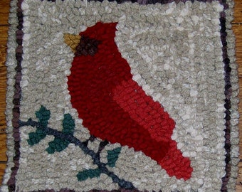 CARDINAL ON BRANCH Primitive Rug Hooking Kit with Cut Wool Fabric Strips