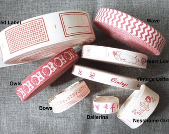 2 Yards Sewing Tape/Ribbon - Retro French Chic Red Work Antique Letters Hoot Owls Geometry Waves Bows Ballerina Girls(Choose Pattern)