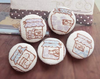 Retro Country Village Pale Blue Purple Colorway Kitchen Jam Jars Cans Collection-Handmade Fabric Covered Buttons(0.98 Inches, 5PCS)